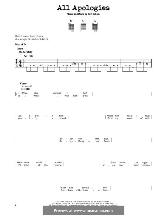 All Apologies (Nirvana) by K. Cobain - sheet music on MusicaNeo
