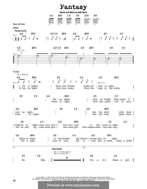 Fantasy: For guitar by Aldo Nova