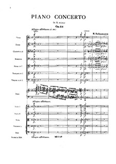 Concerto for Piano and Orchestra in A Minor, Op.54: Full score by Robert Schumann