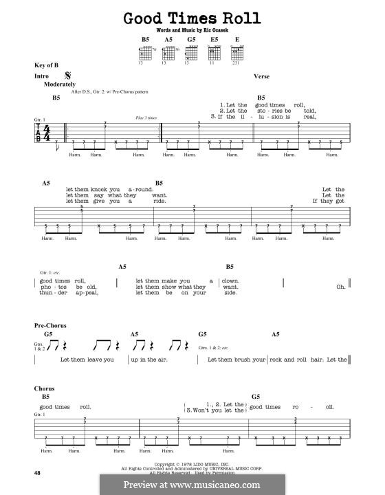 Good Times Roll (The Cars): For guitar by Ric Ocasek