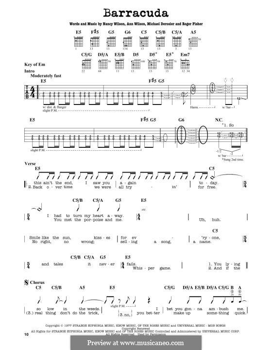 Barracuda (Heart): For guitar by Ann Wilson, Michael Derosier, Nancy Wilson, Roger Fisher