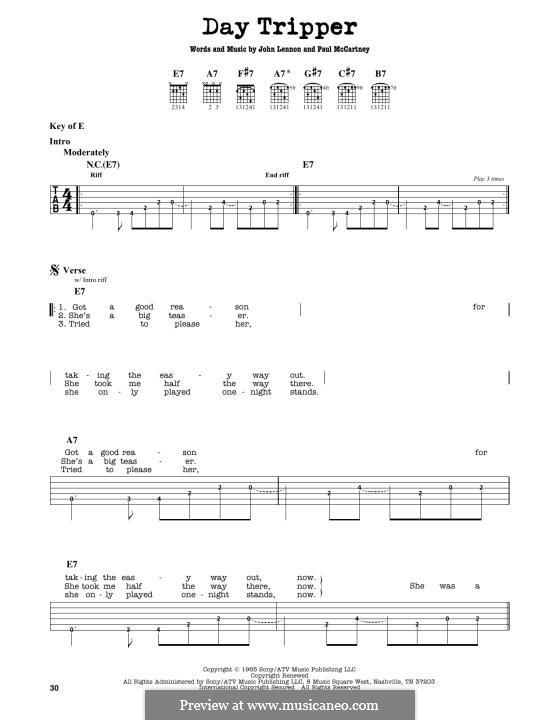 Day Tripper (The Beatles): For guitar by John Lennon, Paul McCartney