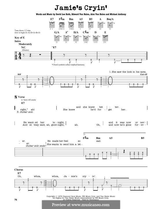 Jamie's Cryin' (Van Halen): For guitar by Alex Van Halen, David Lee Roth, Edward Van Halen, Michael Anthony