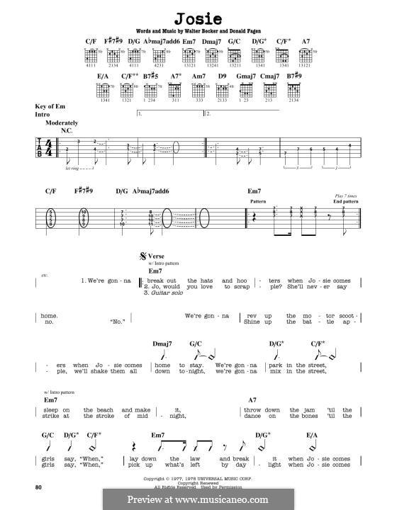 Josie (Steely Dan): For guitar by Donald Fagen, Walter Becker