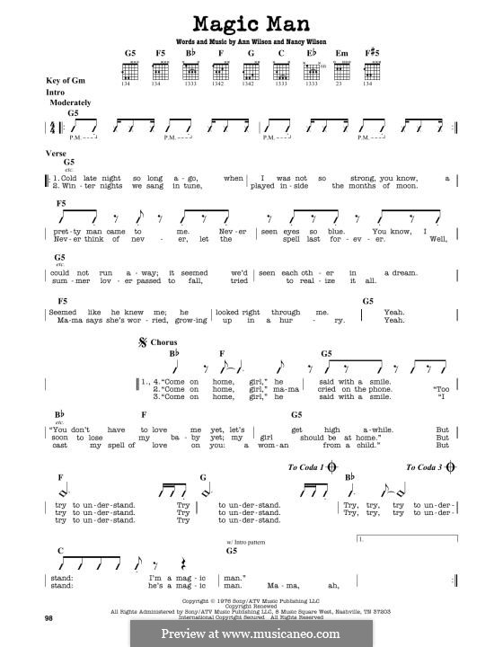 Magic Man (Heart): For guitar by Ann Wilson, Nancy Wilson