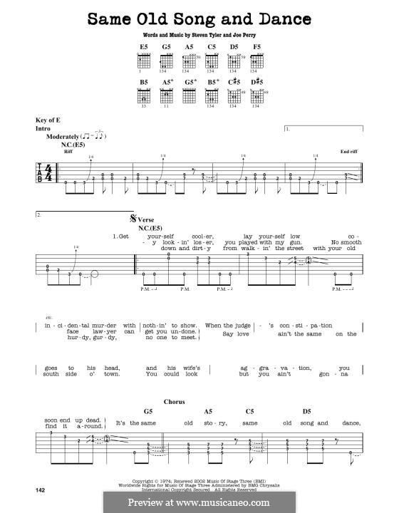 Same Old Song & Dance (Aerosmith): For guitar by Joe Perry, Steven Tyler