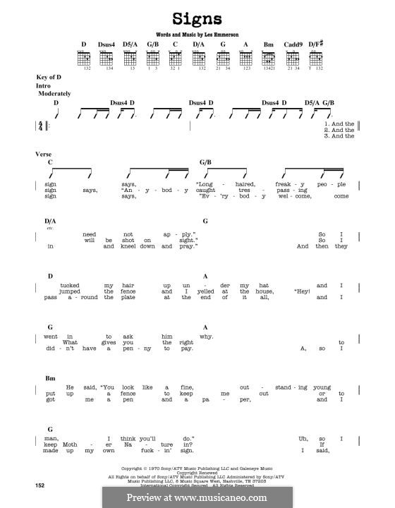 Signs (Five Man Electrical Band): For guitar by Les Emmerson