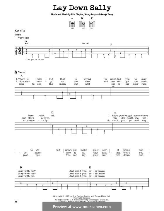 Lay Down Sally: For guitar by George Terry, Marcy Levy