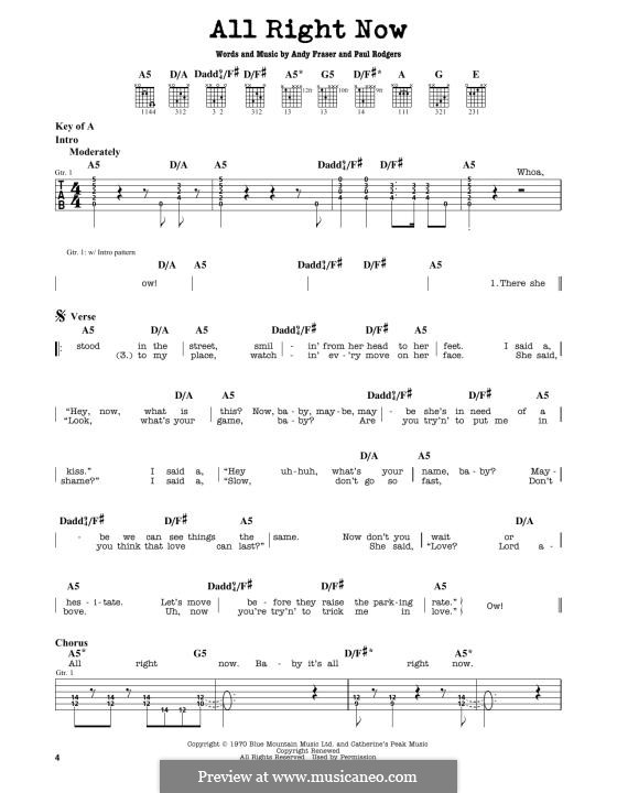 All Right Now (Free) by A. Fraser, P. Rodgers - sheet music on MusicaNeo