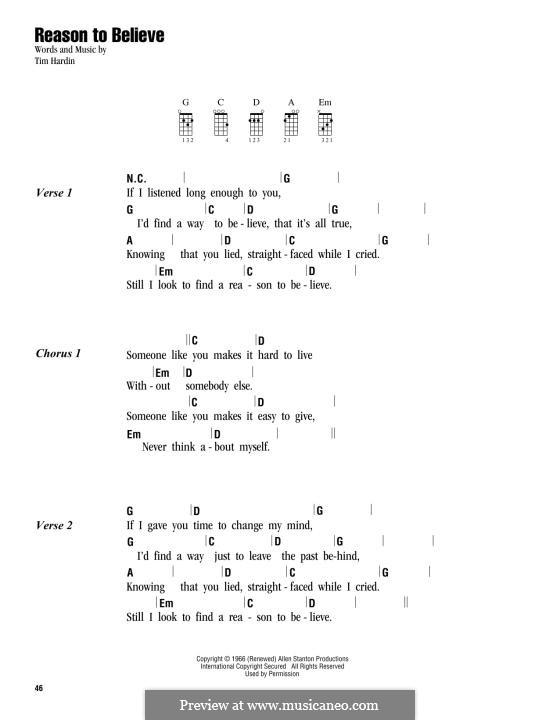 Reason To Believe: For ukulele by Tim Hardin
