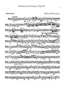 Genoveva, Op.81: Overture – cello part by Robert Schumann