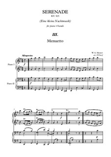 Minuet: For piano four hands by Wolfgang Amadeus Mozart