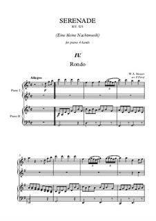 Rondo: For piano four hands by Wolfgang Amadeus Mozart