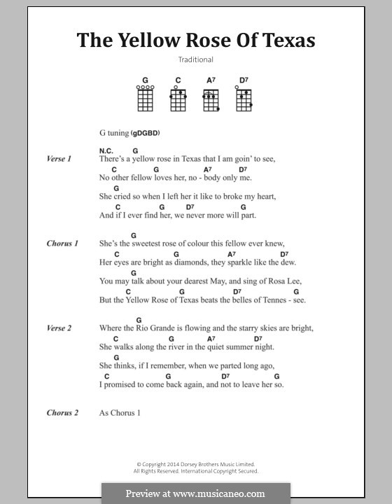 The Yellow Rose of Texas by folklore - sheet music on MusicaNeo