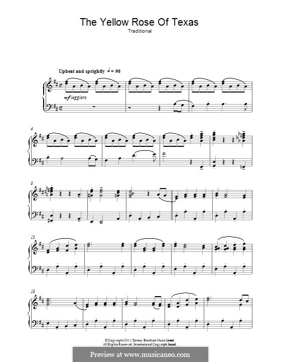 The Yellow Rose of Texas: For piano by folklore