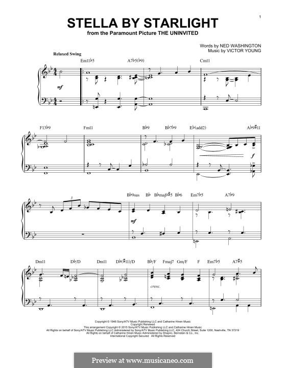 Stella By Starlight: For piano by Victor Young
