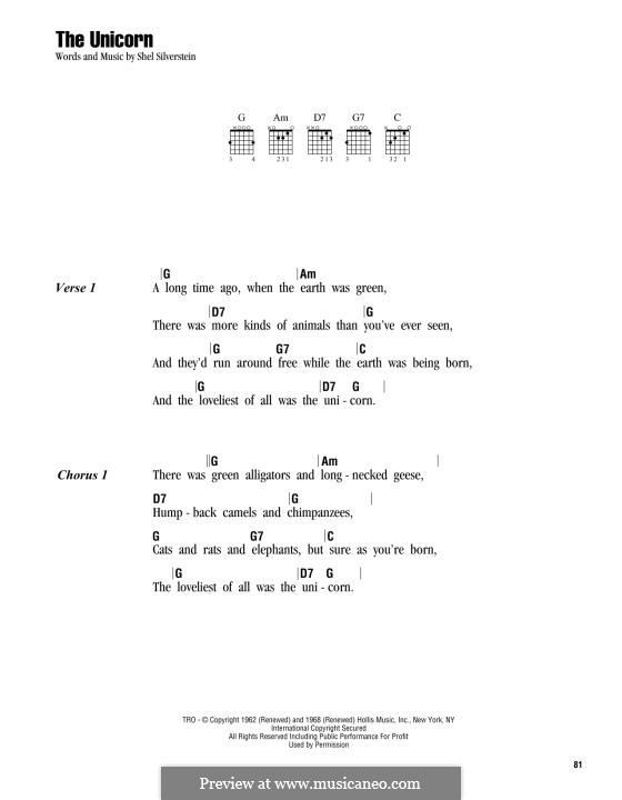The Unicorn: Lyrics and chords by Shel Silverstein
