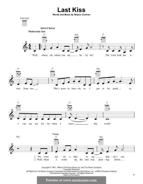 Last Kiss (J. Frank Wilson): For ukulele by Wayne Cochran