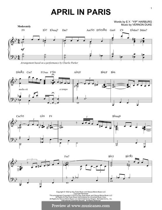 April in Paris: For piano by Vernon Duke