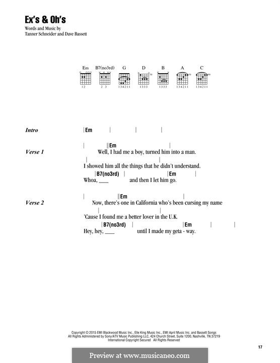 Ex's & Oh's (Elle King): Lyrics and chords by Dave Bassett, Tanner Schneider