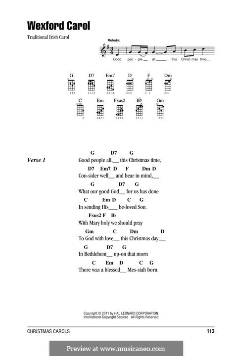 Wexford Carol: For ukulele by folklore