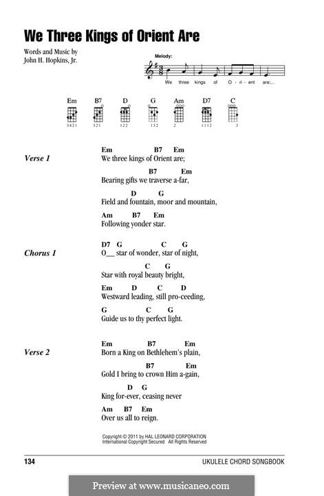 We Three Kings of Orient are (Printable Scores): For ukulele by John H. Hopkins Jr.