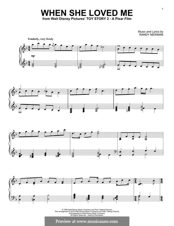 When She Loved Me (from Toy Story 2): For piano by Randy Newman