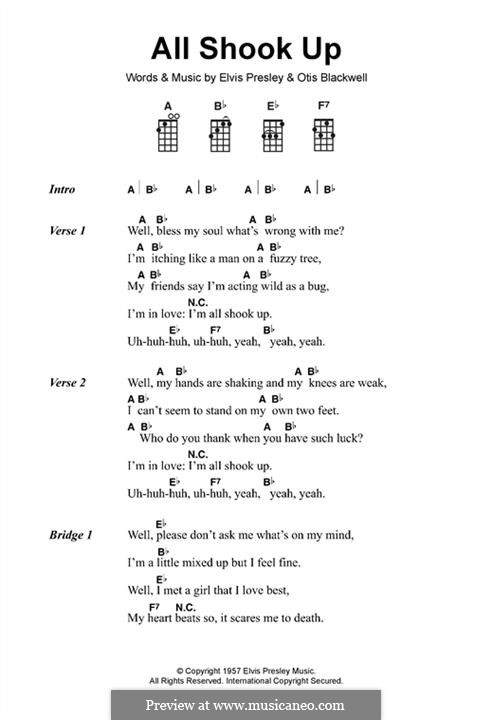 All Shook Up: Lyrics and chords by Elvis Presley, Otis Blackwell