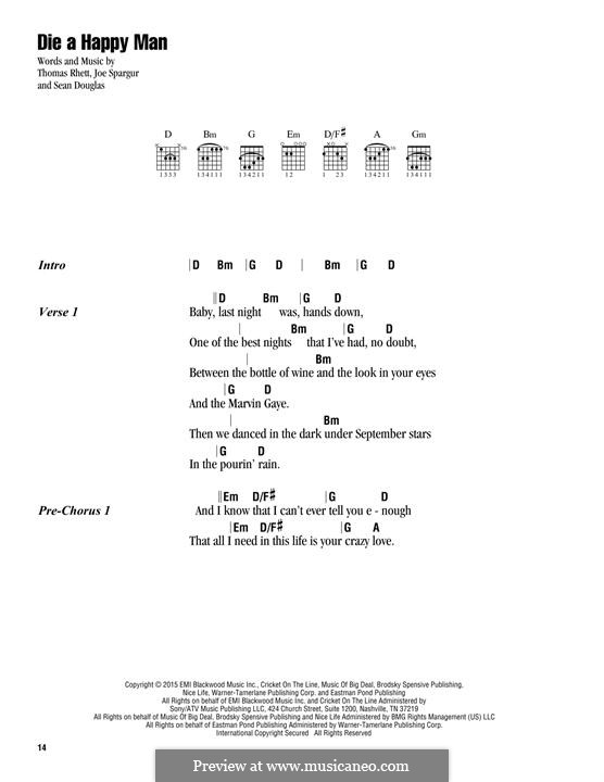 Die a Happy Man by T. Rhett, S. Douglas, J. Spargur on MusicaNeo