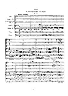 Concerto for Horn and Orchestra No.2 in E Flat Major, K.417: Full score by Wolfgang Amadeus Mozart