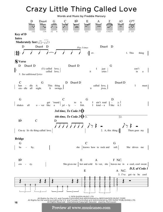 Crazy Little Thing Called Love (Queen): For guitar by Freddie Mercury
