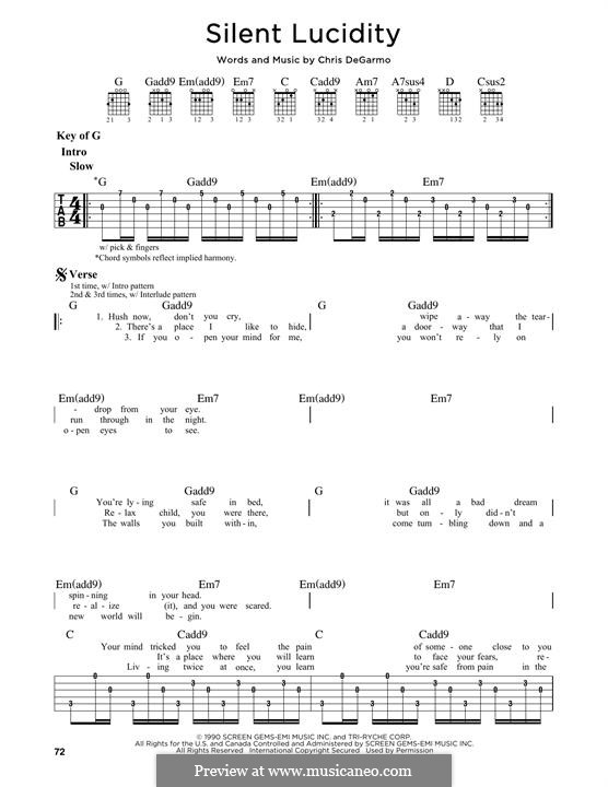 Silent Lucidity Queensryche By C Degarmo Sheet Music On Musicaneo