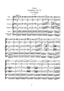 Symphony No.12 in G Major, K.110: Symphony No.12 in G Major by Wolfgang Amadeus Mozart