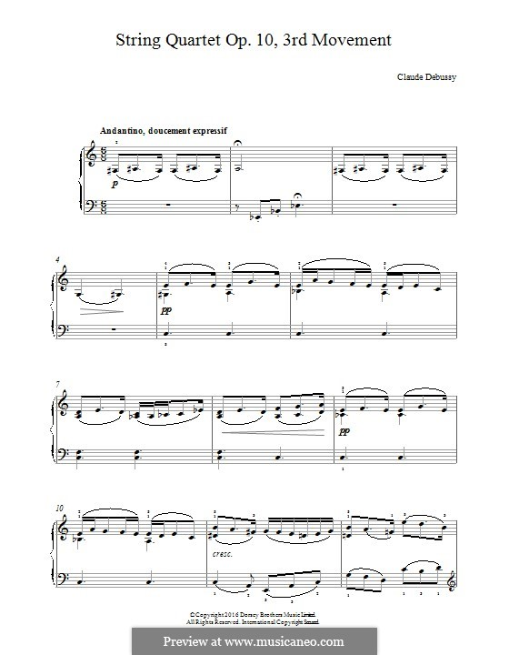 String Quartet No.1 in G Minor, L.85 Op.10: Movement III. Version for piano by Claude Debussy