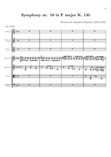 Symphony No.18 in F Major, K.130: Full score by Wolfgang Amadeus Mozart