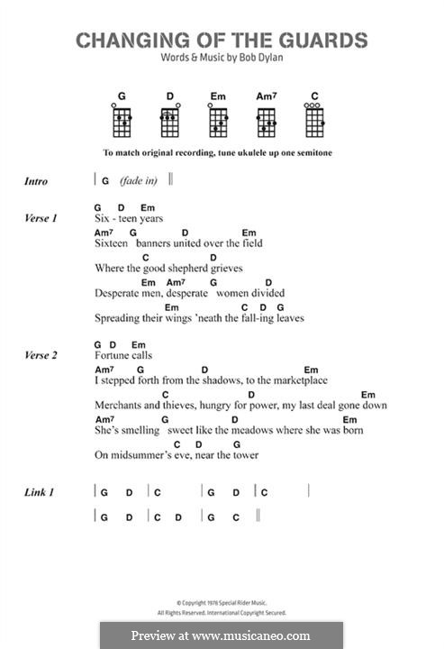 Changing of the Guards by B. Dylan - sheet music on MusicaNeo