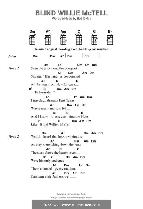 Blind Willie McTell: Lyrics and chords by Bob Dylan