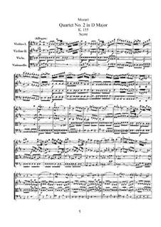 String Quartet No.2 in D Major, K.155: Full score by Wolfgang Amadeus Mozart