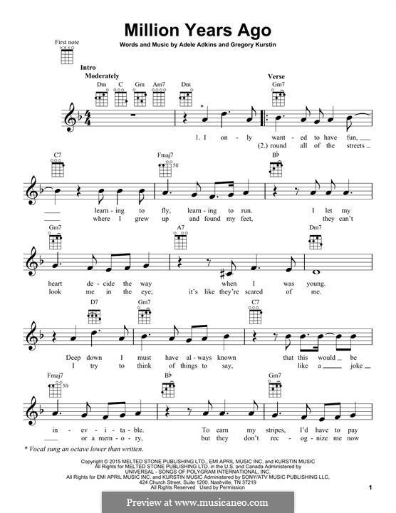 Million Years Ago: For ukulele by Adele, Greg Kurstin