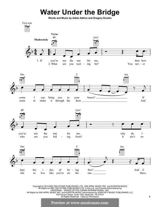 Water Under the Bridge: For ukulele by Adele, Greg Kurstin
