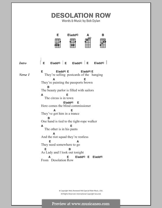 Desolation Row By B Dylan Sheet Music On Musicaneo