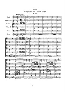 Symphony No.1 in E Flat Major, K.16: Full score by Wolfgang Amadeus Mozart