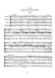 String Quartet No.11 in E Flat Major, K.171: Full score by Wolfgang Amadeus Mozart