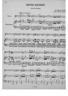 Concerto for Violin and Orchestra No.1 in B Flat Major, K.207: Arrangement for violin and piano by Wolfgang Amadeus Mozart