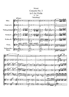 Concerto for Violin and Orchestra No.3 in G Major, K.216: Full score by Wolfgang Amadeus Mozart