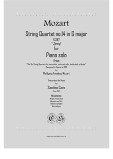 String Quartet No.14 in G Major, K.387: For piano solo by Wolfgang Amadeus Mozart