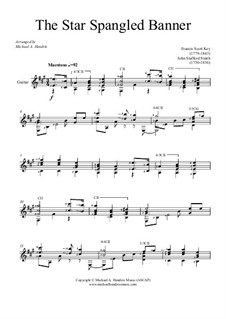 The Star Spangled Banner (National Anthem of The United States): For guitar by John Stafford Smith