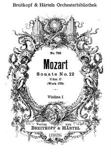 Church Sonata for Orchestra No.14 in C Major, K.278: Violin I part by Wolfgang Amadeus Mozart