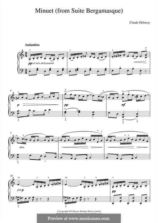 No.2 Minuet: For piano by Claude Debussy