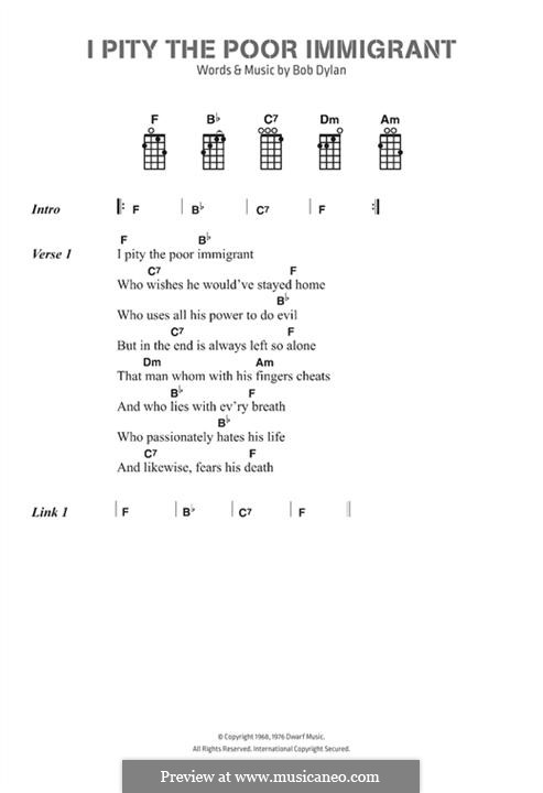 I Pity the Poor Immigrant: Lyrics and chords by Bob Dylan